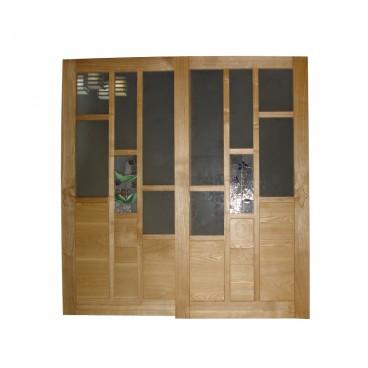 2ステンドグラスの吊り引き戸NO1